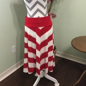 Red and white striped skirt — never worn